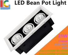 21W LED Bean Pot Light 3 COB Grille Lamp Highlighted AC85-265V Gallbladder CE 2100LM Home Lighting 2PCs/Lot