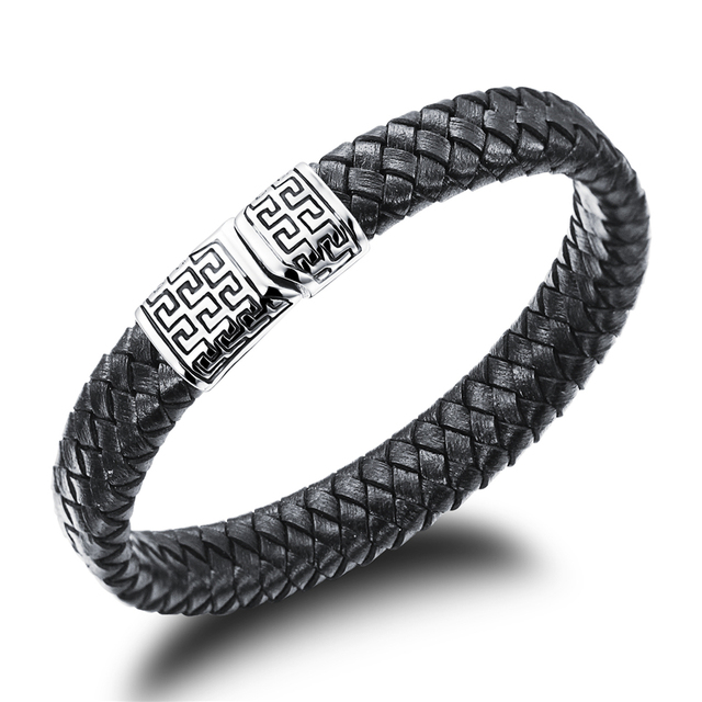 Hot Sell Woven Strap Black Leather Mens Bracelet Jewelry Brand
