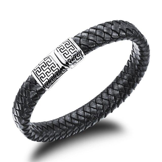 Hot Woven Strap Black Leather Men S Bracelet Jewelry Brand Designer Stainless Steel Greek Fret Meander