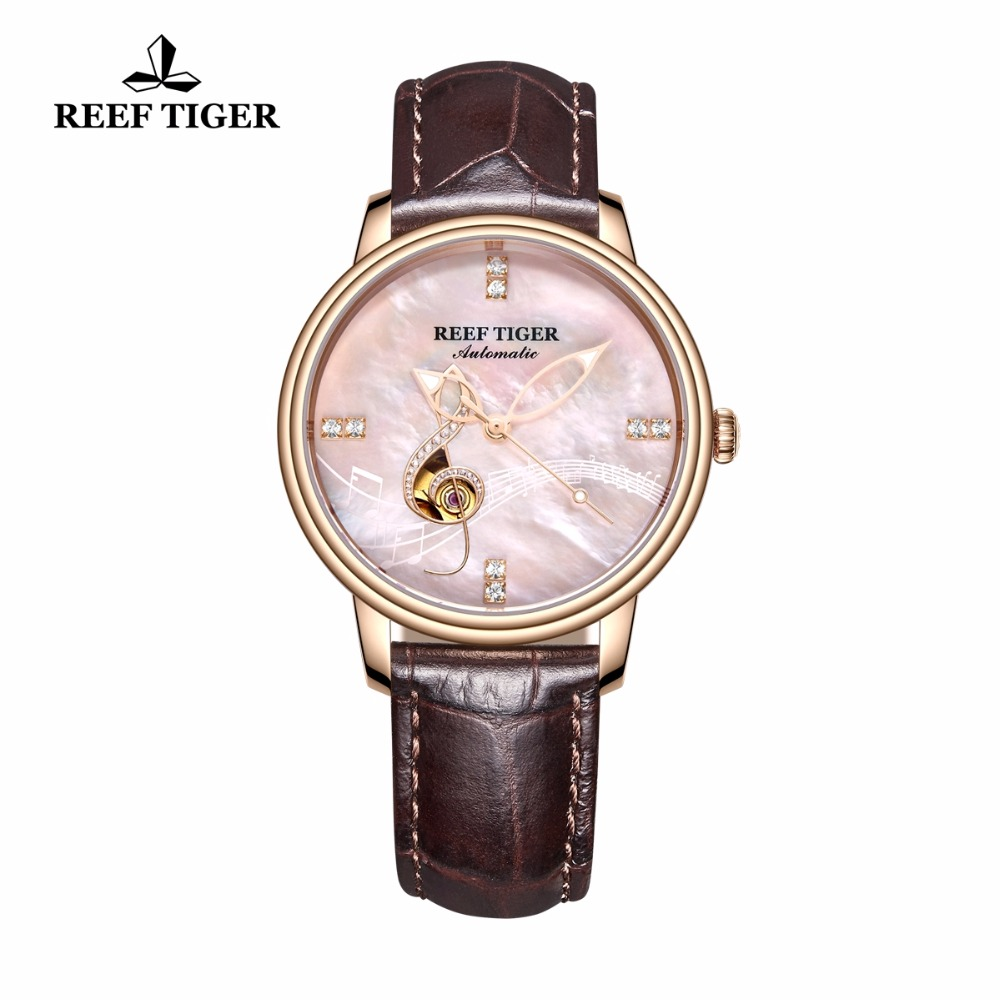 Reef Tiger/RT Luxury Fashion Watches for Women Automatic Rose Gold Pink Shell Dial Analog Watches relogio feminino RGA1582Reef Tiger/RT Luxury Fashion Watches for Women Automatic Rose Gold Pink Shell Dial Analog Watches relogio feminino RGA1582