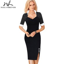 Nice forever Polka Dots Elegant Women Patchwork Buttons Square Neck Sheath Dress business Wear to Work