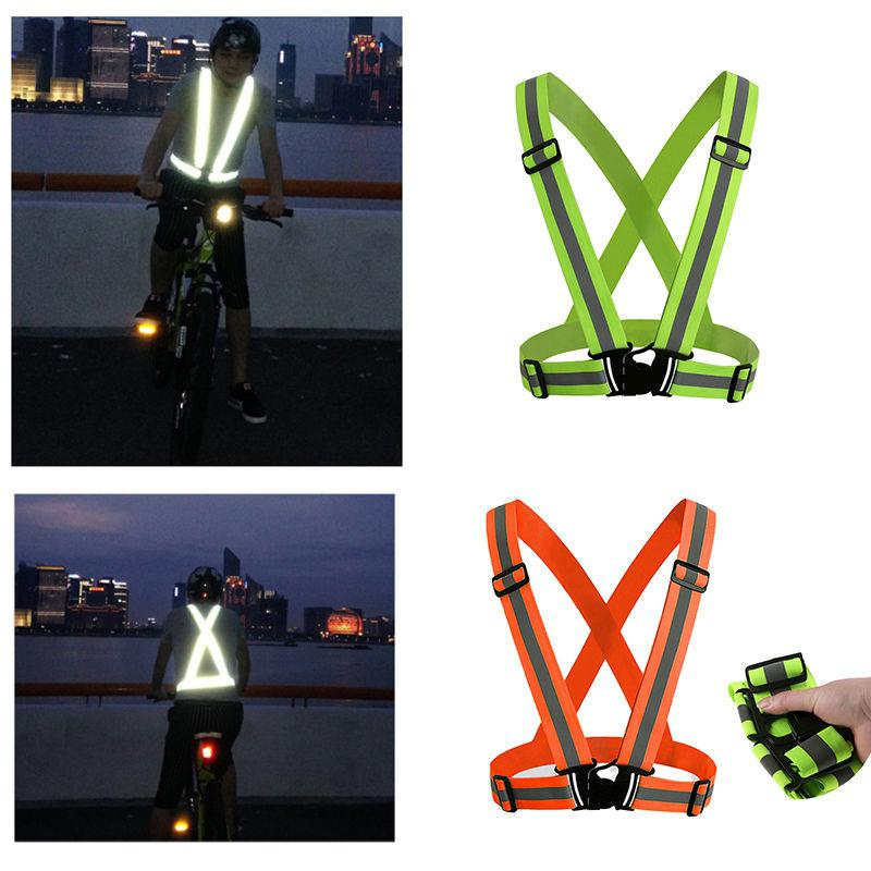 Reflective Vest Adjustable Elastic Waist Belt Safety Vest Wristband On For Outdoor Sports Night Running Jogging Walking