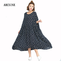 ARCSINX Cotton Women S Dresses Plus Size Kwaii Summer Dress Women Short Sleeve Oversize Women Dress