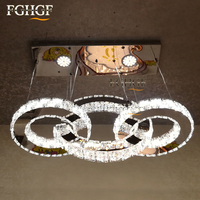 Modern LED Crystal Chandelier Light LED Diamond 3 Rings Chrome Lamp Mirror Finish Stainless Steel Room
