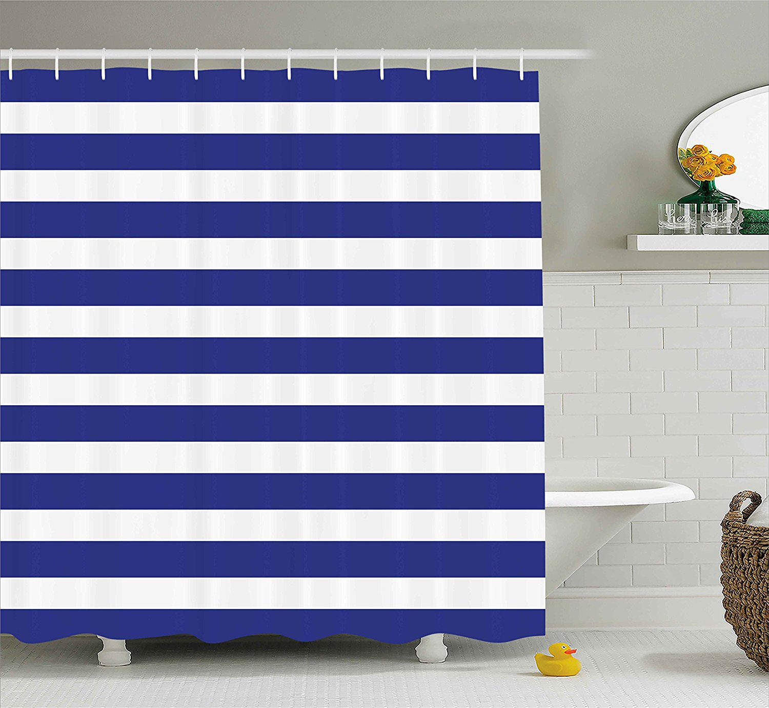 Us 12 8 44 Off Striped Shower Curtain Nautical Marine Style Navy Blue And White Sailor Theme Geometric Pattern Art Print Fabric Bathroom Set In
