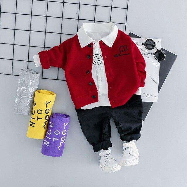 3PCS תינוקות בני בגדי תלבושות חדש מלא שרוול מעיל + חולצה + מכנסיים ילדים בגדי תלבושות פעוט בני סטים 1 2 3 4 שנים