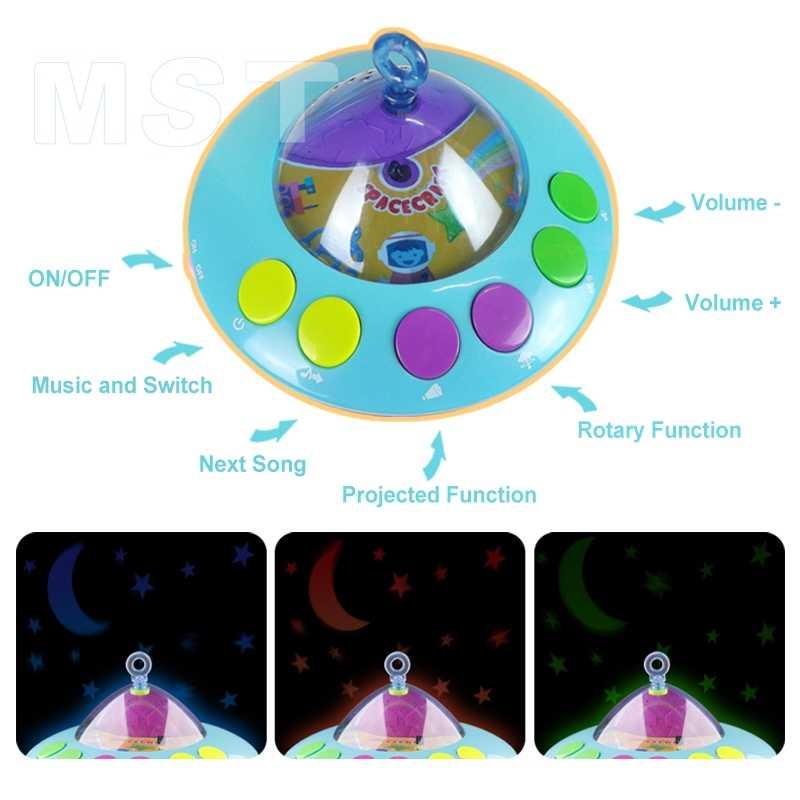 Mainan Bayi 0-12 Bulan Bayi Ponsel Musik Bed Bell Gantung Mainan Proyeksi Kartun Buku Bayi Mainan Anak Laki-laki Pengembangan mainan Anak