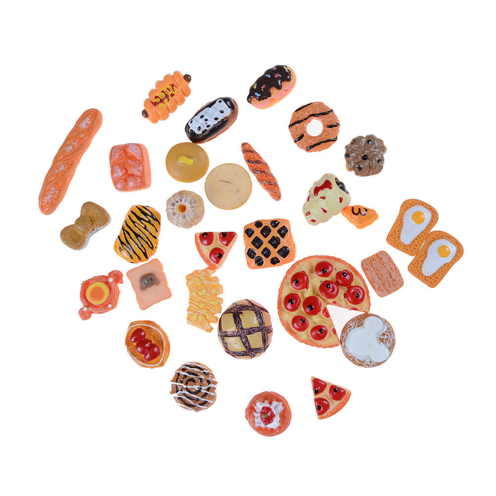 น่ารักMini Playของเล่นผลไม้อาหารเค้กลูกอมผลไม้ฮัมบูร์กบิสกิตโดนัทMiniatureสำหรับตุ๊กตาอุปกรณ์ครัวของเล่นร้อนขาย