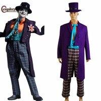 Косплэй DIY Темный рыцарь Джокер Косплэй костюм для Хэллоуина Косплэй костюм со шляпой Прихватки для мангала индивидуальный заказ