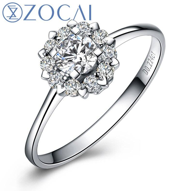 """ZOCAI Drown In Love """"1.4 կարատ տրամագծի էֆեկտ"""" 0.32 CT հավաստագրված իսկական ադամանդի ներգրավման մատանի 18K սպիտակ ոսկի (Au750) W02967"""