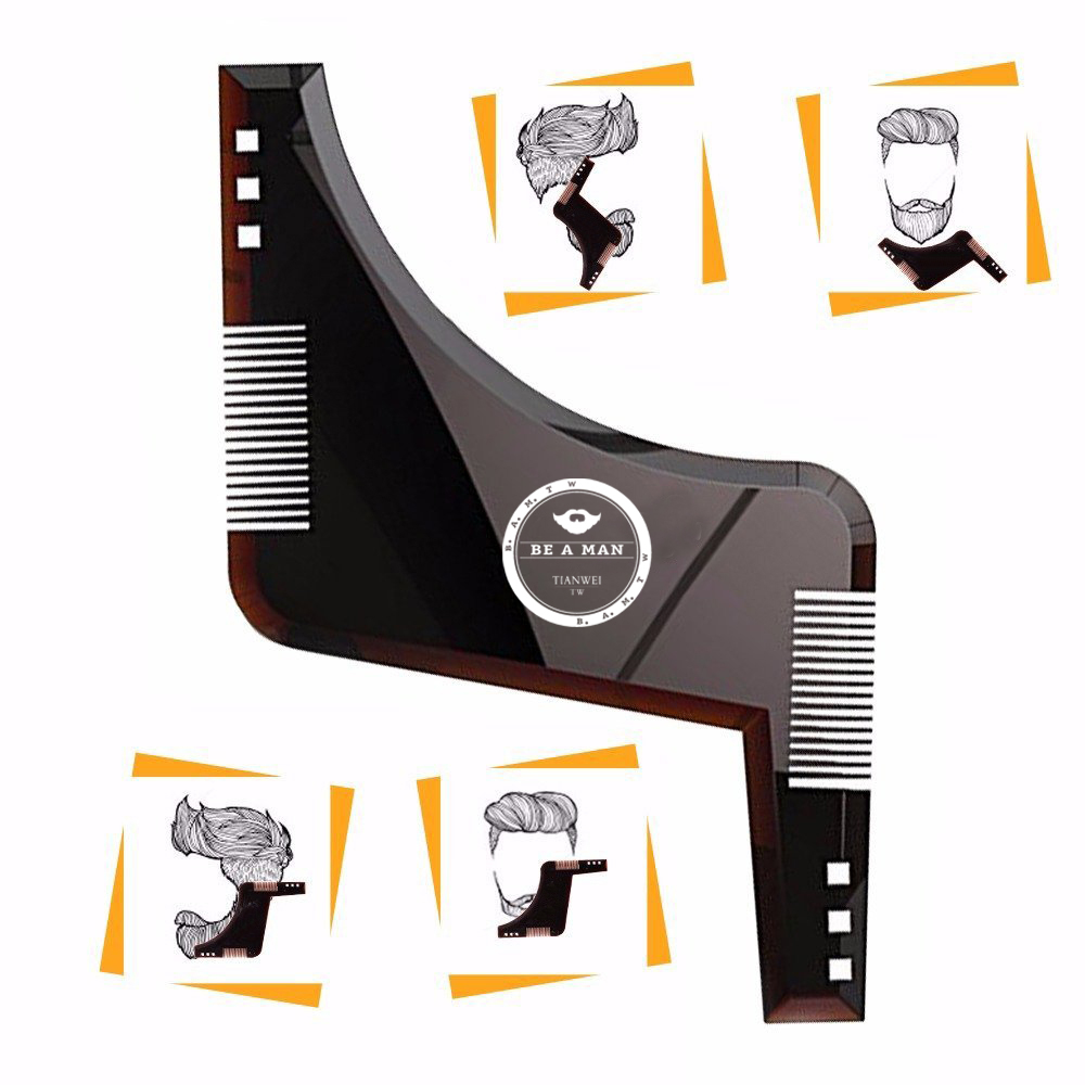 Fashion Beard Styling Template Comb New Barber Tool Mustache Symmetry Trimming Styling Stencil 3 Colors Optional