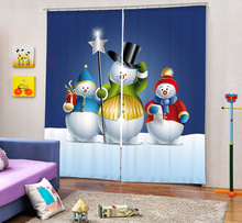 Snowman Curtains 3D Photo Printing Blackout For Window Living Room Bedding Room Hote Office Sofa Decoration