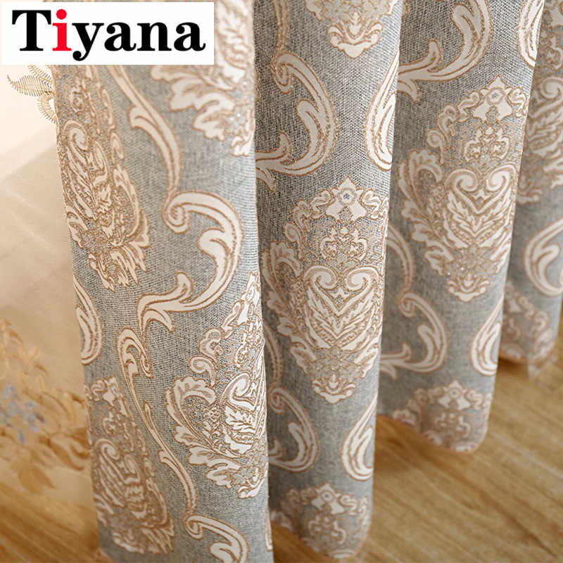 European Luxurious Sheer Curtain High Quality Fashion Thick Shade Curtains For Living room Bedroom Kitchen Window Drapes P245Z40