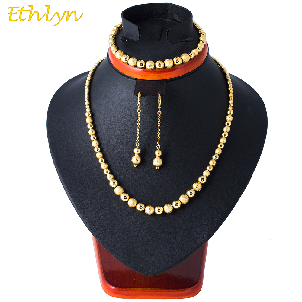 Ethlyn Lucky Engagement Beads Gold Color Ethiopian Women Party Decoration Jewelry Earrring/Necklace/Bracelet Jewelry Sets S075