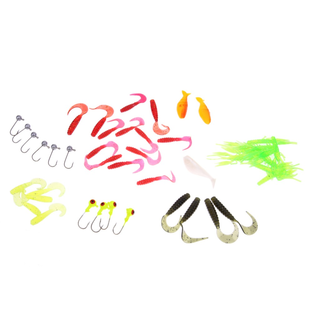 35Pcs Soft Worm Fishing Baits Lead Jig Head Hooks Simulation Lures Artificial Bait Lures Fishing Crankbait Fish Accessories