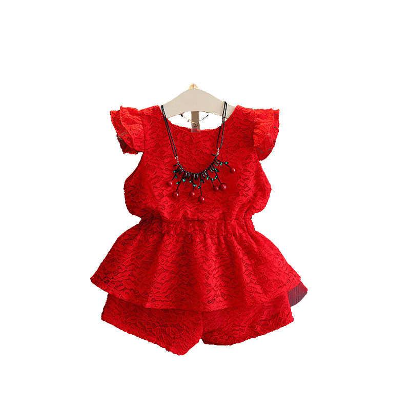 e88ef7ee1c27 2018 наряд для маленьких девочек Летняя Детская Костюмы комплект одежды  футболка без рукавов + Шорты для