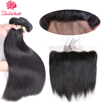 Beau 1B 8A Brazilian Straight Hair 4 Bundles With Lace Frontal Closure Human Hair Bundles With