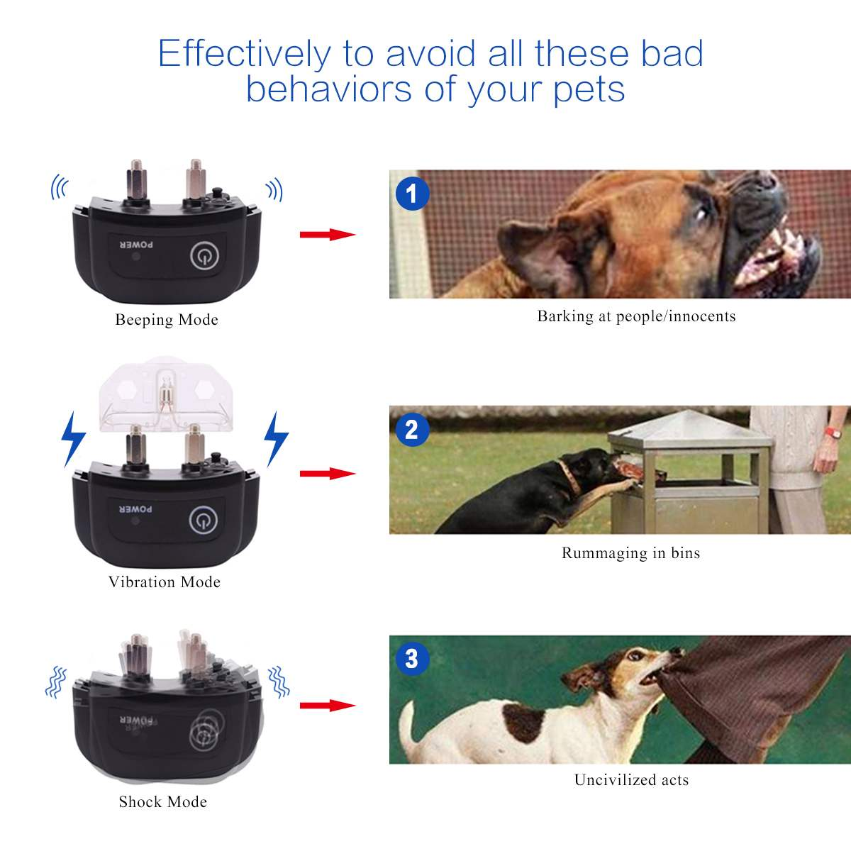 Digoo DG PPT1 Rechargeable Electronic Dog Training Collar with Vibration and Static Stimulation 3