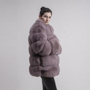Image 3 - QIUCHEN PJ8142 2020 الشتاء 70 سنتيمتر النساء ريال فوكس معطف الفرو مع الثعلب الفراء طوق طويلة الأكمام معطف حقيقي الثعلب الزي جودة عالية