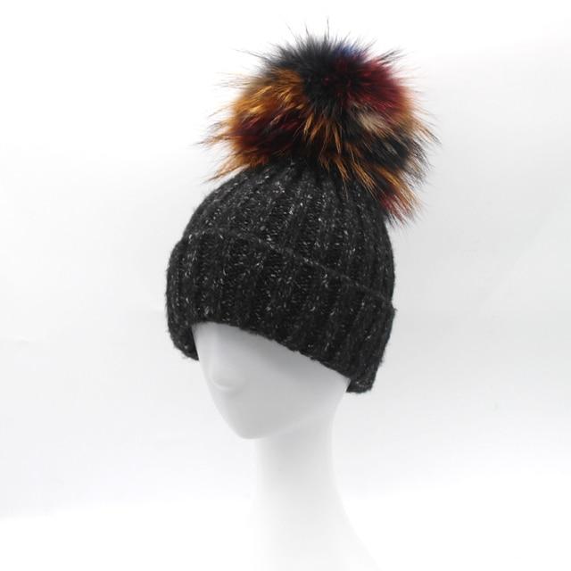 Women Winter Warm Wool Hat Real Raccoon Fur pompom Beanie Hats Girls Knit Cap 2016 High Quality