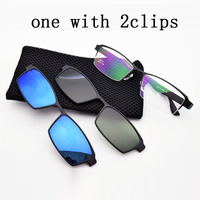 Box Eyeglasses Frame Male Belt Magnet Clip Myopia Glasses Frame 3D Lens Polarized Sunglasses Sand Black Frame Night vision