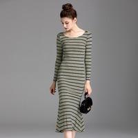 Elegant Striped Knitted Dress For Women Autumn O neck Long Sleeve Mid Calf Mermaid Dress Vestidos
