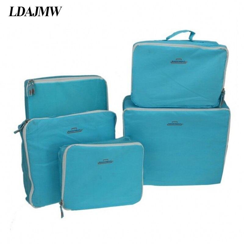LDAJMW 5 Pcs/ensemble Vacances Voyage Kit Poche Organisateur Bagages Emballage Cube Stockage Zipper Sac En Nylon Vêtements Accessoires Organisateur