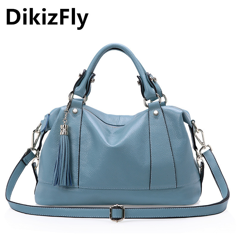 DikizFly Brand Luxury Women Genuine Leather Shoulder bag messenger Large Capacity Zipper Handbags Female Bags Lady Totes Tassel dikizfly soft genuine leather women handbags casual totes bag real leather brand work handbag purse elegant messenger bags bolsa