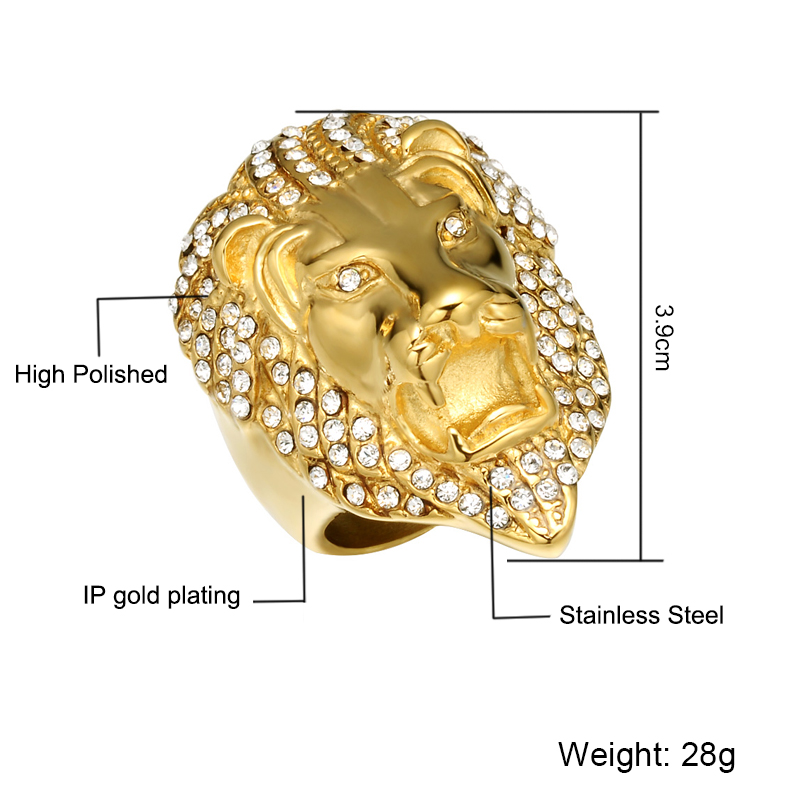 HIP Hop Micro Pave Rhinestone Iced Out Bling Lion Head Anillo para - Bisutería - foto 2