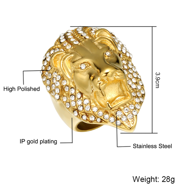 Iced Out Lion Head Ring 2