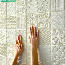 3d retro pattern self-adhesive soft package wallpaper bedroom living room anti-collision kids TV background wall sticker
