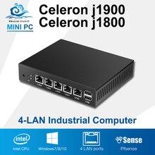 Мини-ПК 4 ядра Планшеты безвентиляторный 4 LAN маршрутизатор брандмауэра Celeron J1800 J1900 Окна 10/8/7 HTPC HD Графика ТВ коробка vga 4 RJ45