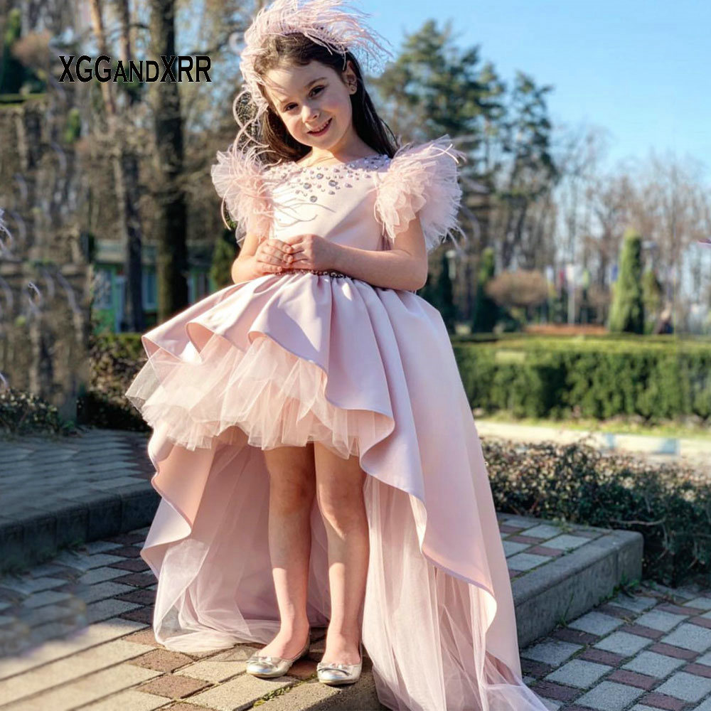 Lovely Pink Feather Flower Girls Dresses 2019 Scoop Pearls High Low Kids Pageant dresses Flower Girl Dresses for Weddings