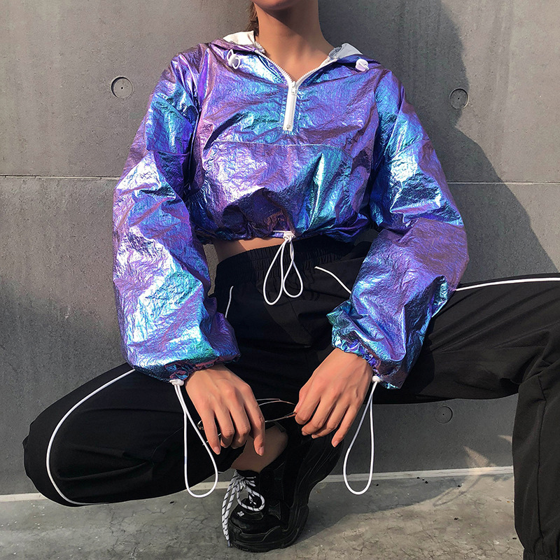 2020 Women Rave Outfit Holographic Jacket Short Hooded  Neon Outfit Dance Crop Top Women Jazz Dance Street Dance Clothing