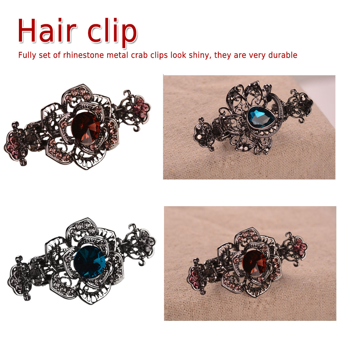 Luxury Vintage Crystal  Hair Claws Charm Ancient Gun Black Crab Clip Fashion Wedding Accessories For Women