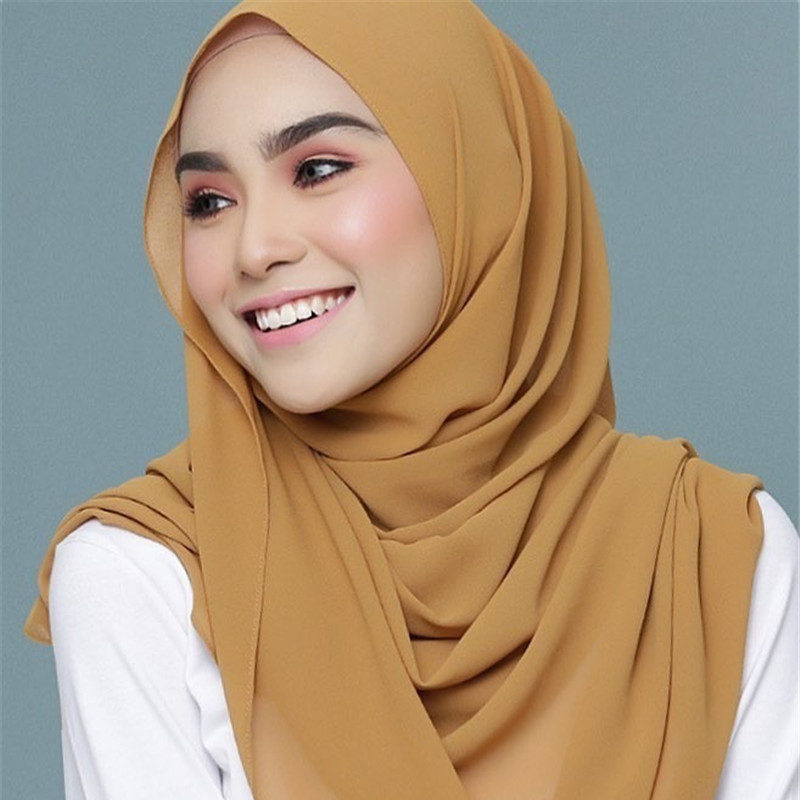 2019 Fashion Solid Chiffon Muslim Headscarf Women Instant Hijab  Scarf Islamic Foulard Shawls And Wraps Head Scarves Kopftuch
