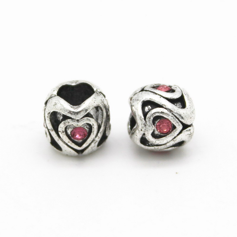 New Round Heart Silver 5mm Big Hole Loose Ancient Original ...