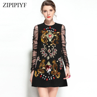 ZIPIPIYF High Quality V Brand Vintage Dress Boho 2018 Spring Summer Tulle Floral Butterfly Embroidered Super Star Chic Vestios