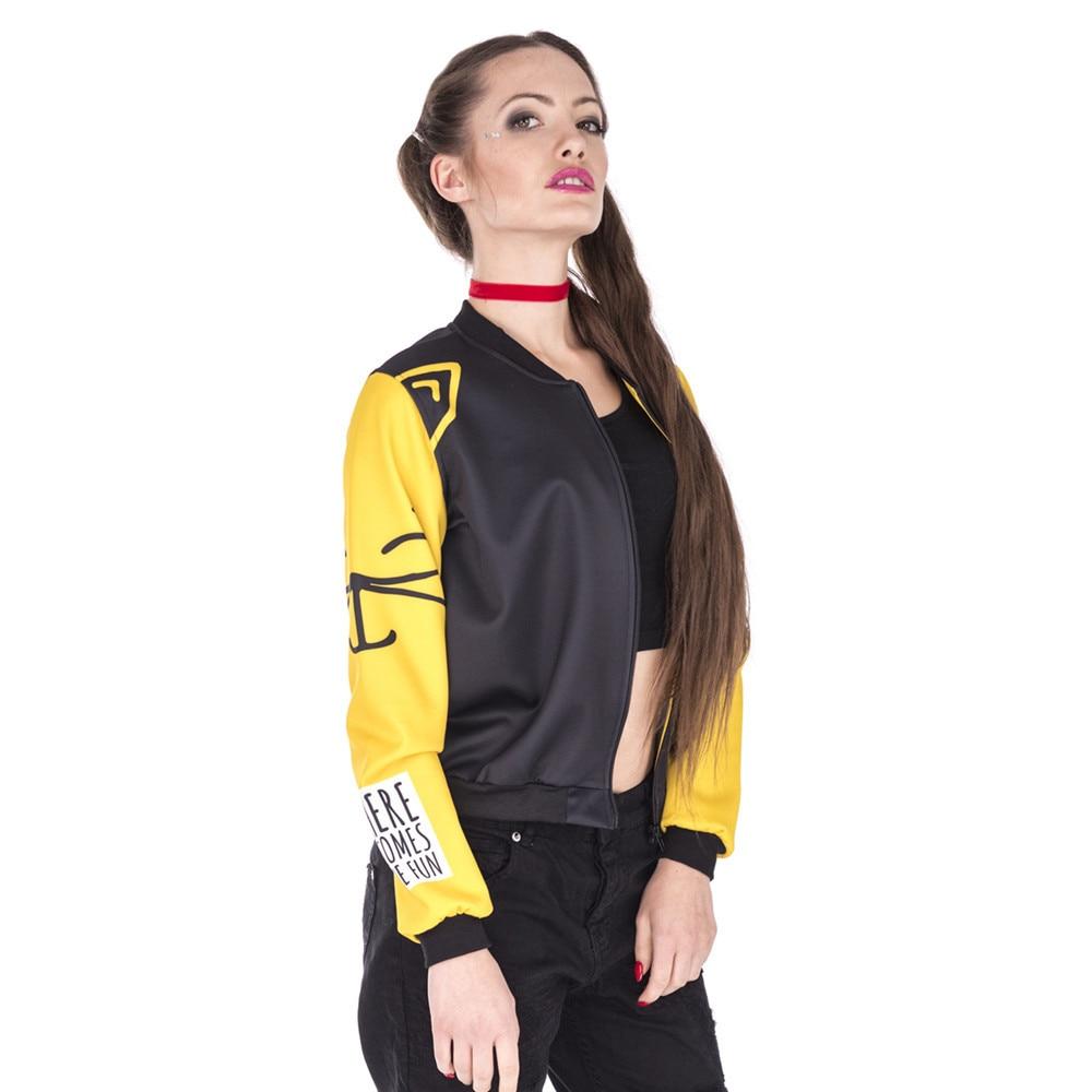 Hot Sales Women Bomber Jacket Love Cats Printing Fashion Jaqueta Feminina Sexy Slim Basic Jacket for Woman