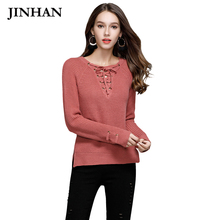 JINHAN Fashion V Neck Bandage Sweaters Women Red Camel Thick Pullover Winter Jumper Solid Color Warm Knitted Sueter Mujer JHS804