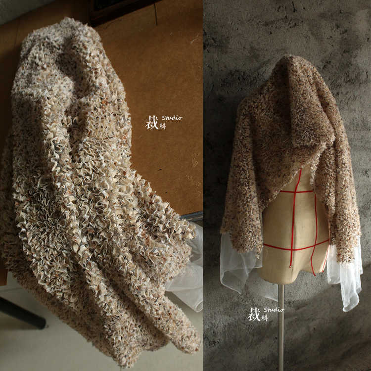 6a47e3c52e8 Mystery Italianhigh-end stereo texture mesh designer cloth faux fur fabric  Wedding Dress Tulle Material
