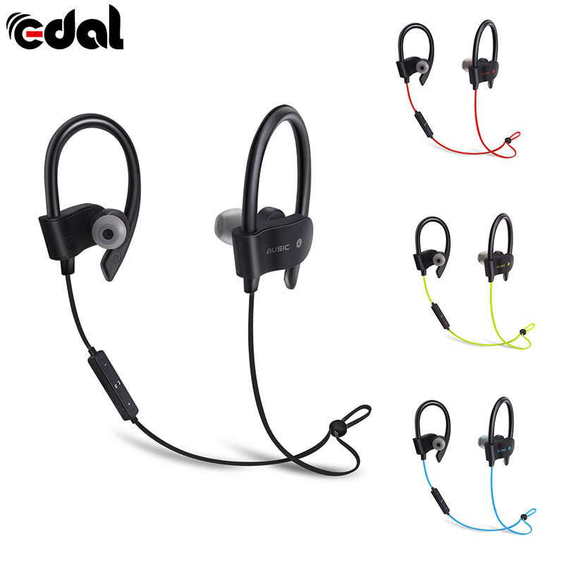 EDAL Sports In-Ear Wireless Bluetooth Earphone Stereo Earbuds Headset Bass Earphones with Mic for iPhone 6 Samsung Phone langsdom m400 3 5mmmetal earphone for phone super bass in ear earphones with mic stereo headset earbuds for samsung xiaom iphone
