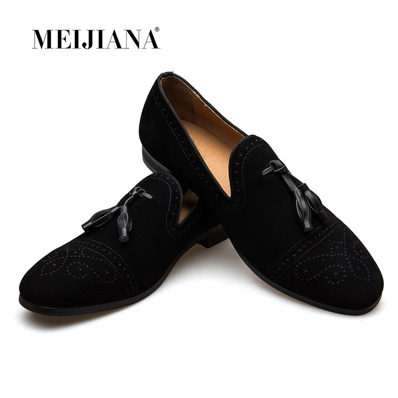 MEIJIANA 2019 Handmade Leather Tassel Loafers Spring and Autumn New