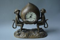 Rare Old Qing Dynasty royal clock \ mechanical watch, table clock, Monkeys carry peaches, can work, Free shipping