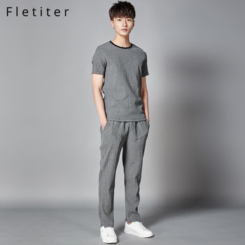 Fletiter Men's Set Bamboo fiber T Shirt+Pants 2 piece suit Solid Summer Sportswear Men Sweatshirt Hip-Hop Male Brand Tracksuit