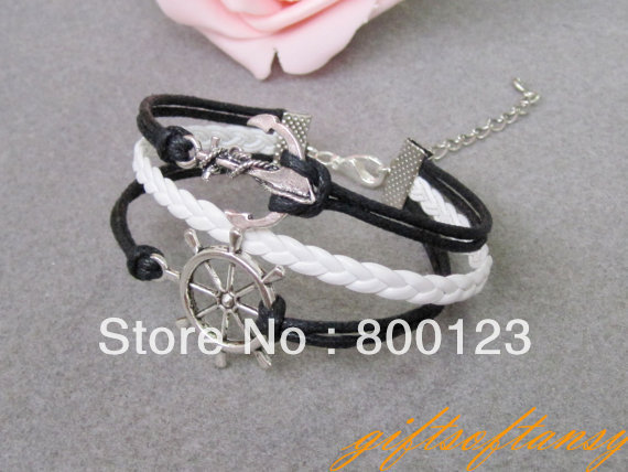Nautical Bracelet--Antique Silver Rudder Bracelet, Anchor Bracelet with White Braid and Black Wax Cord Chain Bracelet-C209-2