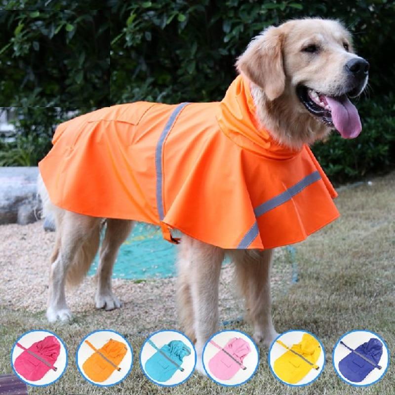 Kalis air anjing besar pakaian anjing luar anjing kot jaket baju hujan anjing untuk anjing reflektif emas retriever 11AY30S1
