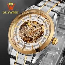OUYAWEI esqueleto Reloj Mecánico Original de Oro Automático Deporte Militar de Acero Inoxidable Relojes de Pulsera para Hombres Reloj Hombre 2016