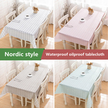 Nordic plaid Decorative Linen Tablecloth Waterproof Oilproof Rectangular Wedding Dining Table Cover Easy to clean household