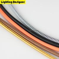 Livraison gratuite (5 m/Lot) tressé fil électrique Vintage Tissu Conducteur En Cuivre Réchaud Électrique Fil (2*0.75mm) Edison Ampoule Lampes câble